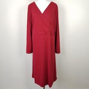 Kiyonna Red Faux Wrap Dress